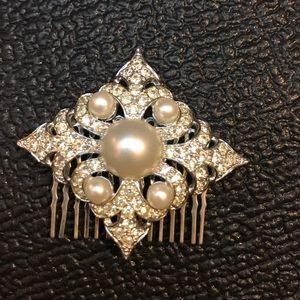 Large White Pearl Rhinestone Wedding Hair Clip